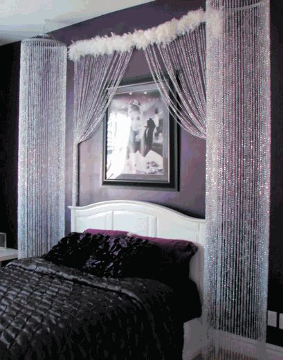 Best 25 bead curtains ideas on pinterest beaded for Romantic purple bedroom