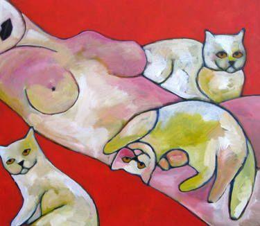 """Saatchi Art Artist Nelly Van Nieuwenhuijzen; Painting, """"Cats"""" #art"""