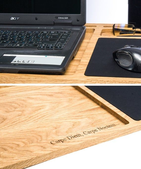 Lap Desk Oak Wood Laptop Stand Portable Laptop Desk With Slots For Mac And Iphone Mobile Workstation Wooden Computer In 2020 Lap Desk Portable Laptop Desk Laptop Stand