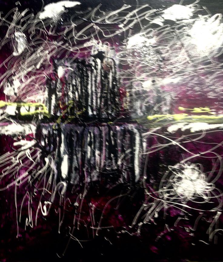 Acrylic on canvas 30 x 30 Skyline Reflections