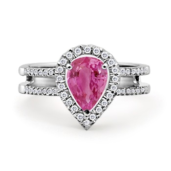 Pear Pink Sapphire and Round Diamond Twin Shank Ring: #AngaraDiamonds Accentuate, Shanks Rings, Diamonds Twin, Raindrop Rings, Round Diamonds, Diamonds Rings, Pears Pink, Graduation Rings, Gemstones Rings