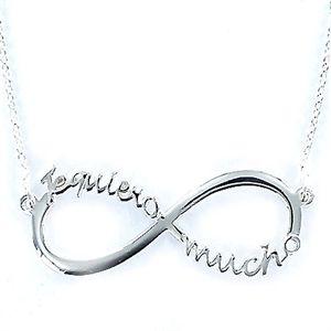Collar Love de plata cadena muy fina infinito de 35 mm Te Quiero Mucho