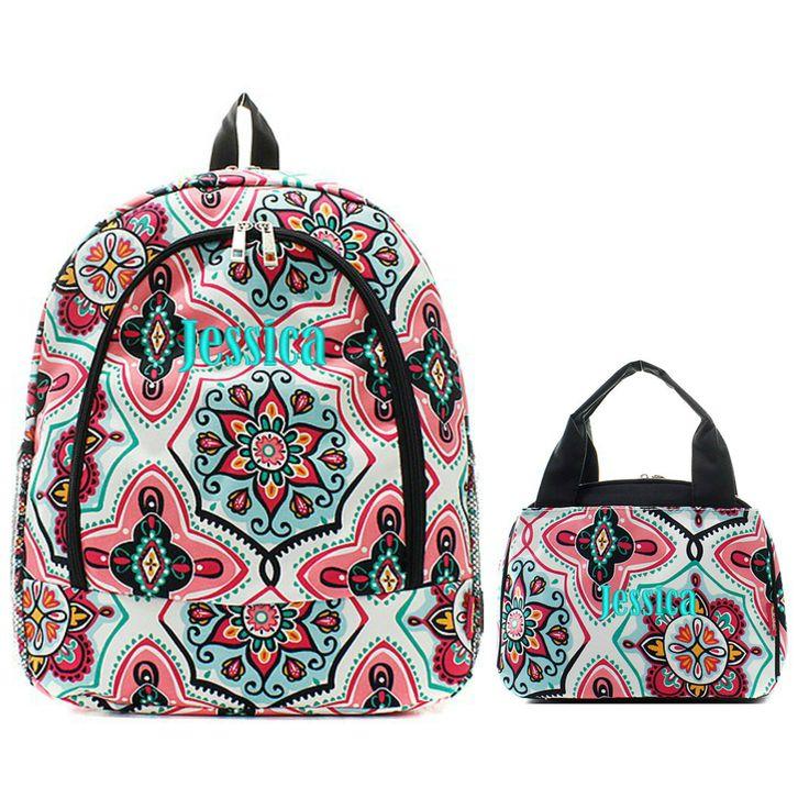 Matching Boho Floral Black Personalized Kids Backpack & Lunch Bag Set