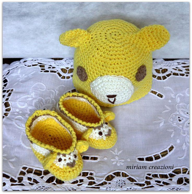 _calottina e scarpine per neonato a forma di orsetto_, by  vetrina miriam chiocciola, 16,00 € su misshobby.com