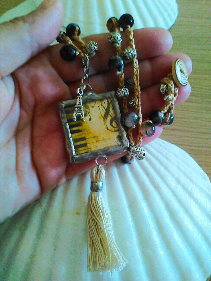 Collana tecnica Tiffany con ciondolo in vetro  saldatura a stagno su rame di BrunoDesign74 su Etsy