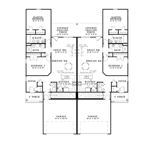 Delonta ranch style duplex plan 055d 0078 house plans for Ranch style duplex plans
