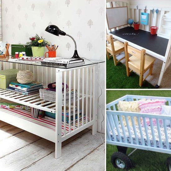 DIY & Crafts - DIY - Repurpose a crib into a bookshelf, desk, etc. try the desk