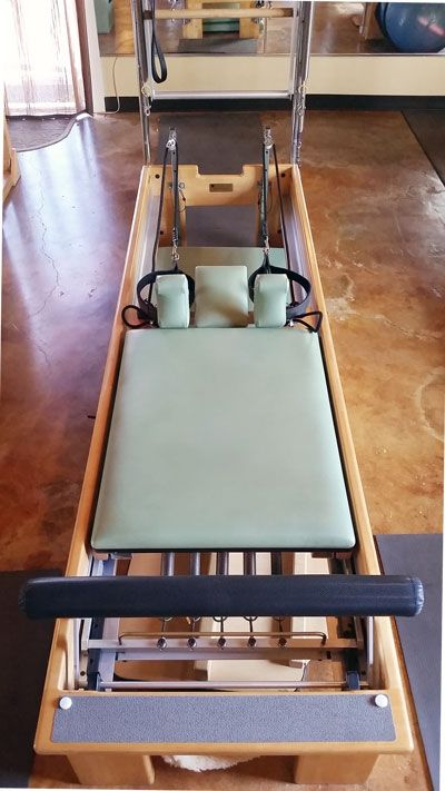sage color bb studio reformer with tower.   The Pilates Guy - Used Pilates…