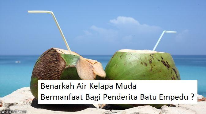 Benarkah Air Kelapa Muda Bermanfaat Bagi Penderita Batu Empedu ? Air kelapa diketahui mengandung asam malat yang dapat membantu mengatasi batu empedu. Selengkapnya dapat Anda baca disini http://www.ahlinyaobatherbal.com/benarkah-air-kelapa-muda-bermanfaat-bagi-penderita-batu-empedu/