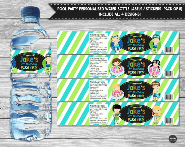 Pool party personalised water bottle labels / stickers (Pack of 8) by Lollipop Party Supplies.