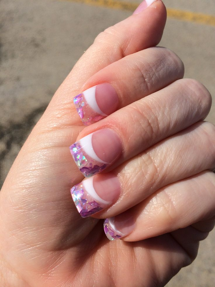 Gel nails pink and white two tone with glitter | Nails | Pinterest