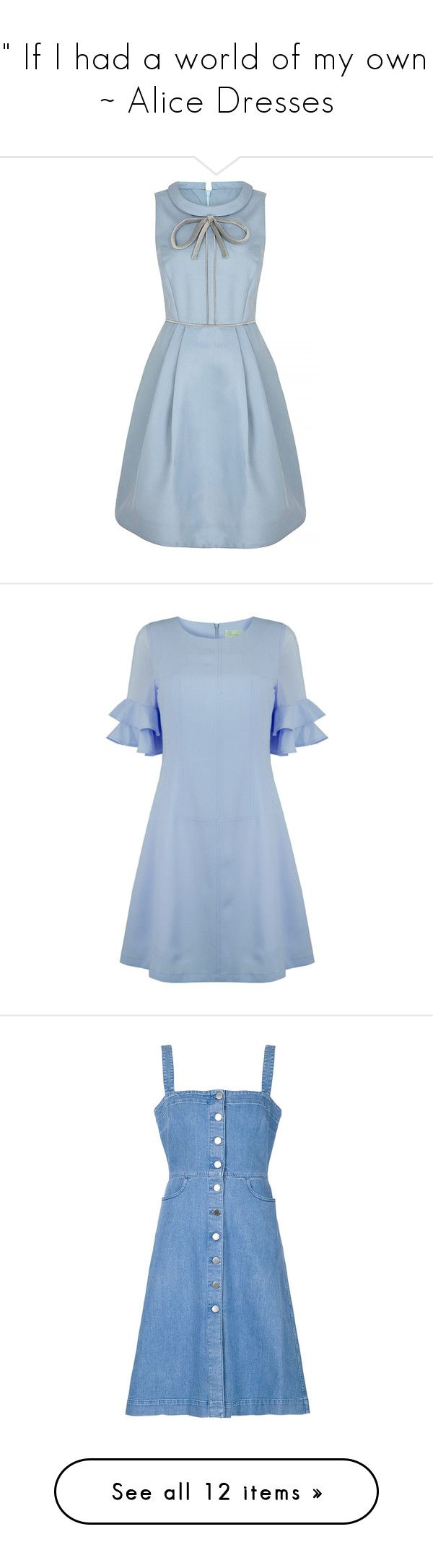 """~ "" If I had a world of my own .."" ~ Alice Dresses"" by hollyweirdx3 ❤ liked on Polyvore featuring dresses, vestidos, blue dress, silk dress, going out dresses, blue cocktail dresses, party dresses, ruffle sleeve dress, flutter-sleeve dress and frill dress"