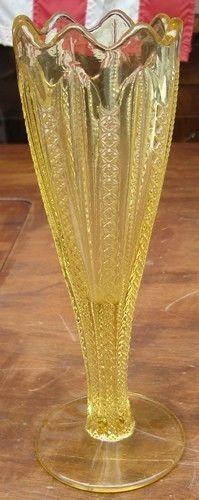 VINTAGE Duncan Miller EAPG Glass VASE Victorian YELLOW TIFFIN Indiana