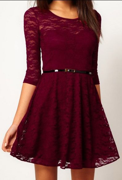 Burgundy Lace Dress.  dresslily.com