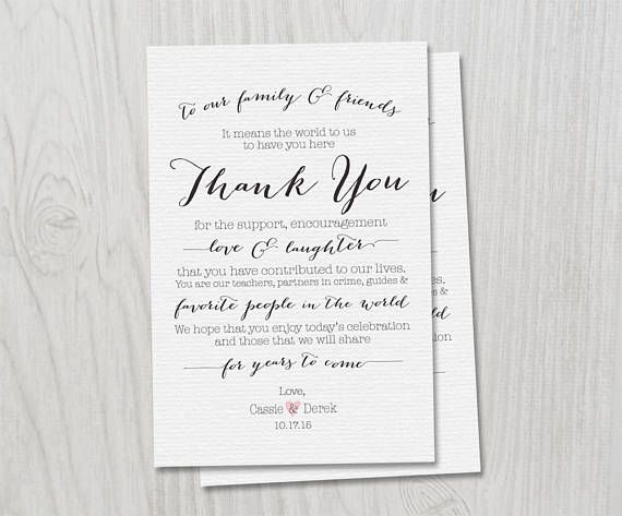 Wedding Day Thank you CUSTOM Menu table cards  PRINTED CARDS