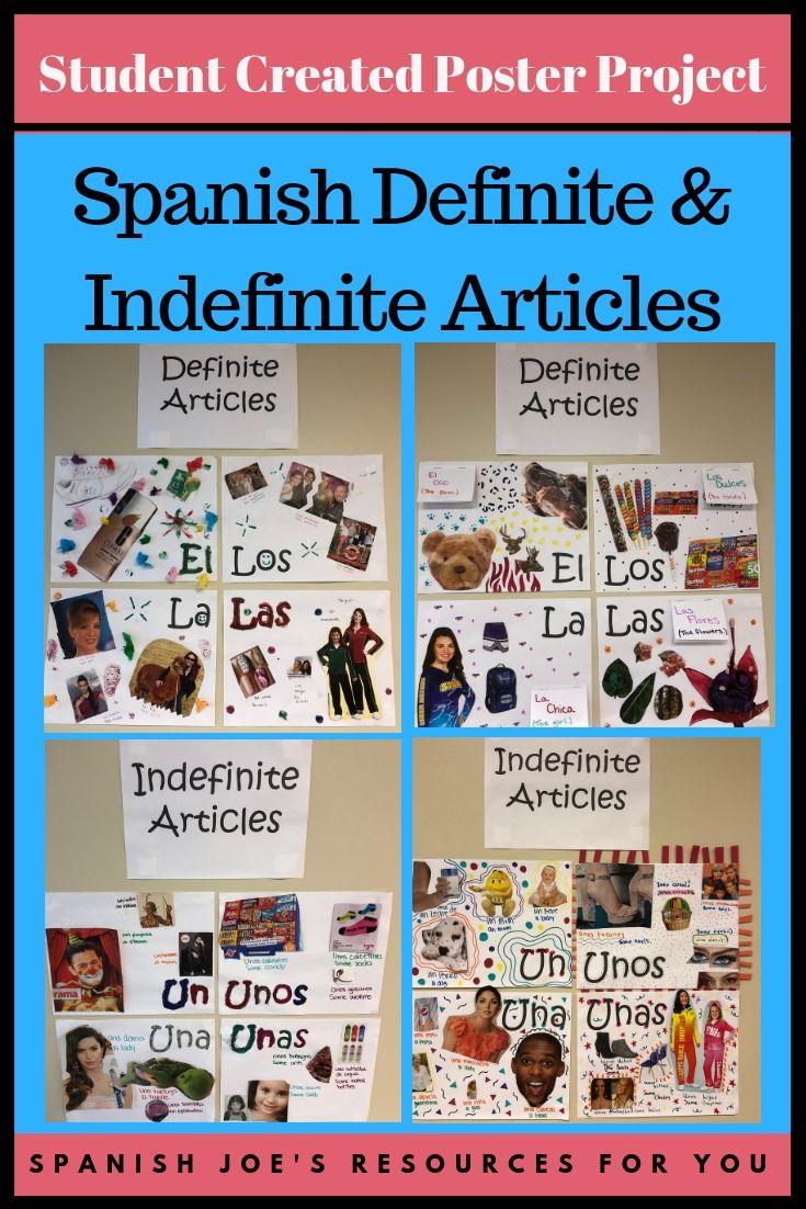 Spanish Definite Indefinite Article Student Created Poster Project Definite And Indefinite Articles Student Created Learning Spanish