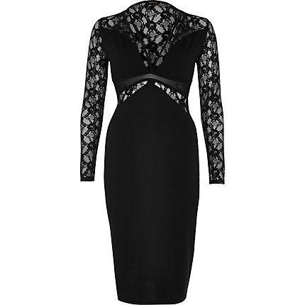 Black lace panel bodycon dress € 43,00
