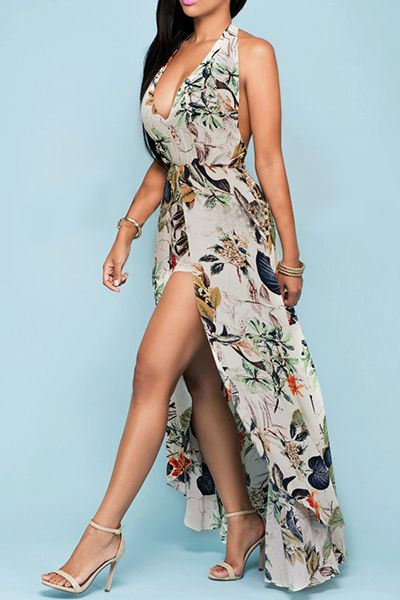 Charming Halter V Neck Backless Floral Print Apricot Chiffon Beach Ankle Length Dress_Dresses_LovelyWholesale | Wholesale Shoes,Wholesale Clothing, Cheap Clothes,Cheap Shoes Online. - LovelyWholesale.com