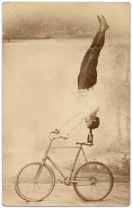 Trick Cyclist. Sepia photography. Britain, late 19th century.