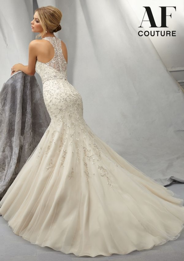 Wedding Gown From AF Couture By Mori Lee Dress Style 1301 Intricately Beaded Gown with Embroidered Allover Design on Net