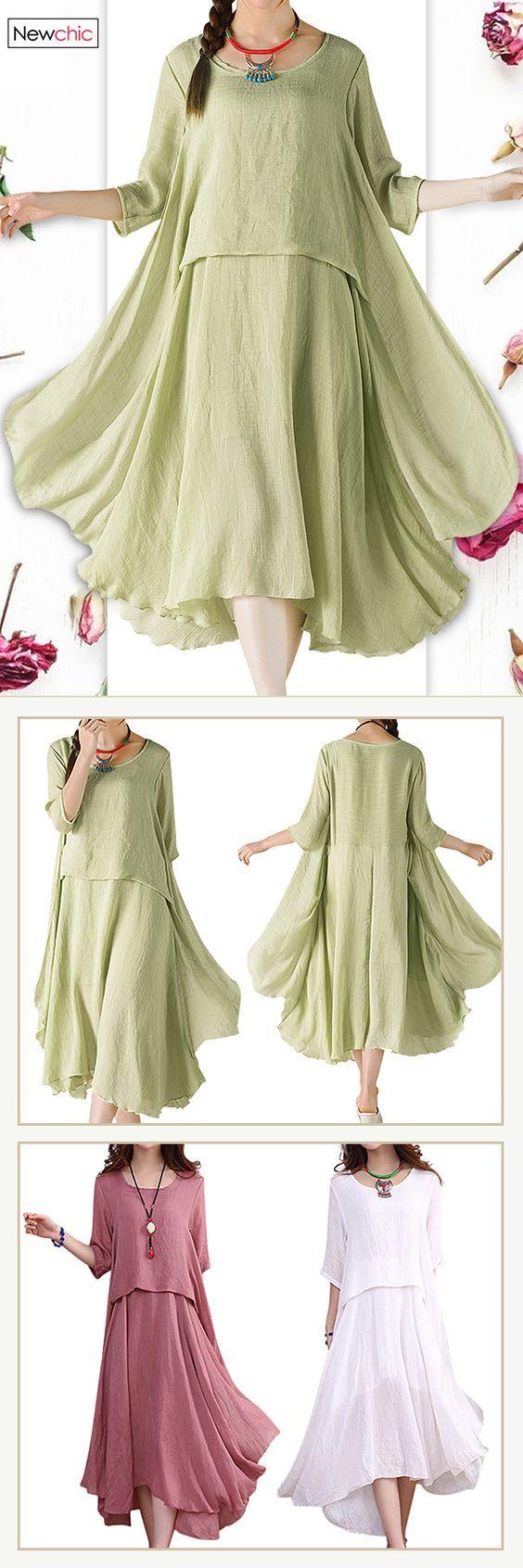 US$ 19.24 O-NEWE Elegant Solid 3/4 Sleeve Ruffled Irregular Dress For Women