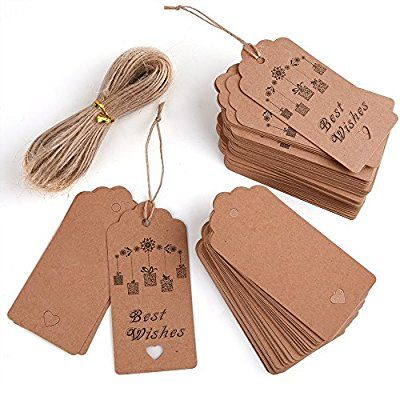 KUUQA etiquetas de papel Kraft 100pcs etiqueta de la tarjeta con la cadena de regalos de artesanías y precios en granel con Puddings al por mayor para el Día de Acción de Gracias Regalos de boda de cumpleaños 20m / 67 pies de cuerda de yute natural