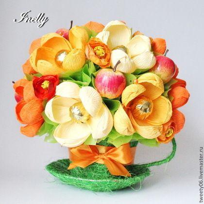 сладкая чашка с конфетами - оранжевый,букет,букет из конфет,сладкий подарок