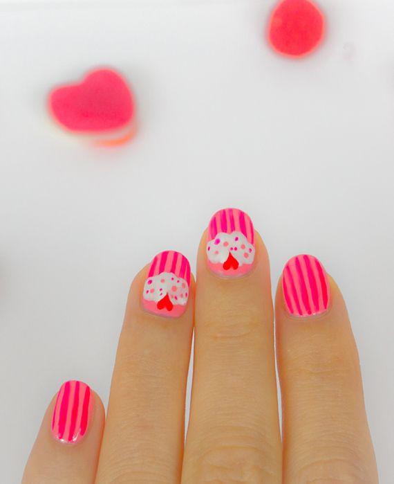 Fotos de uñas pintadas color rosa – 50 ejemplos | Pintar Uñas - Pink nails - cupcake