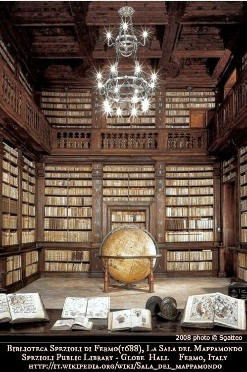 Biblioteca Spezioli di Fermo, La sala del mappamondo /  Spezioli Public Library, Globe Hall in  Fermo,  Italy. 2008 photo © Sgatteo via wiki ... The Library was opened in 1688 by Cardinal Decio Azzolini in homage to Queen Christina of Sweden. The huge globe dates to 1713. Gorgeous!  [Do not remove caption. International copyright law requires you to credit the artist. Link directly to the artist's website.]     PINTEREST on COPYRIGHT:  http://pinterest.com/pin/86975836526856889/