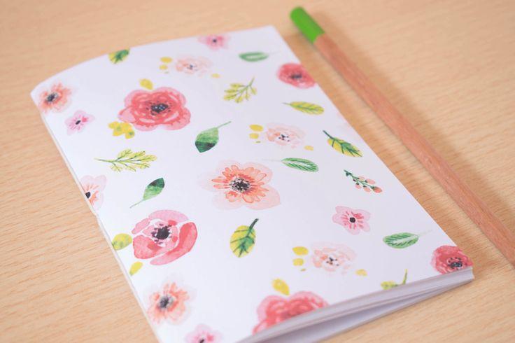 A6 Blank notebook: Watercolor Flowers journal - Handmade diary notebook - Flower journal gift - Cute small notebook - Hand stitched notebook de PaperfulShop en Etsy