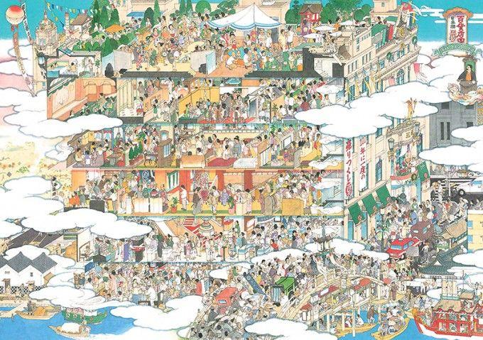 百貨店圖 日本橋三越 / Department Store: Nihonbashi Mitsukoshi / 2004 / 紙にペン、水彩 / pen,watercolor on paper / 59.4 x 84.1 cm