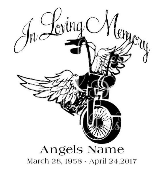 Create Make Your Car Unique With One Of Our Designs For Motorcycle Angel Decals And Or In Loving Memory Motorcycle Tattoos Car Decals Brother Memorial Tattoo
