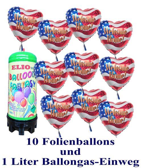 Luftballons Super-Mini-Helium-Set, 10 USA-Ballons, Welcome Home, aus Folie mit 1 Liter Helium-Einweg