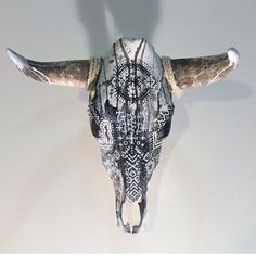 """HAND PAINTED COW SKULL BY ARTIST NATHAN KOSTECHKO Perfect for home decor, weddings or events. one-of-a-kind This genuine cow skull. Large skull Dimension: range from 28""""-32"""" tip to tip."""
