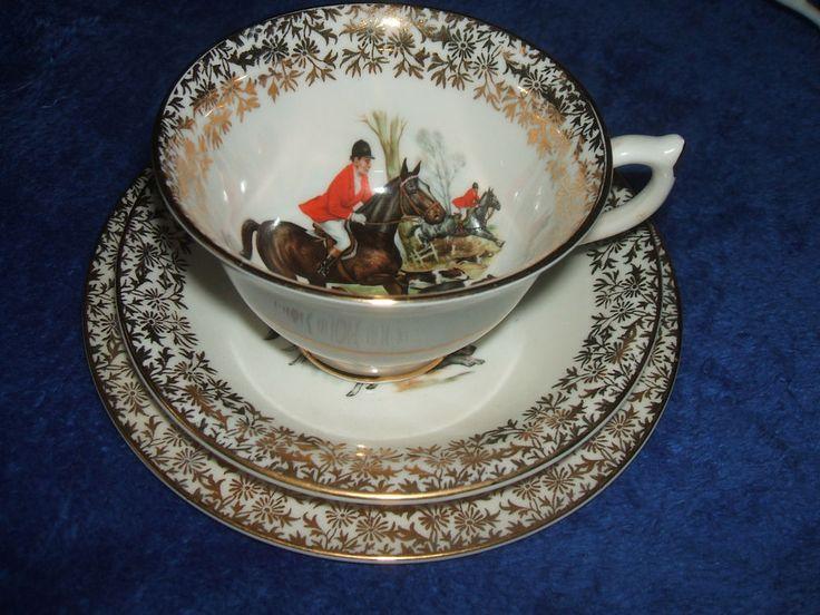 Vintage Fine English Bone China Teacup Trio Saucer Countryside Hunt Scene Gold #Vintage #Teacupt #ebaysales