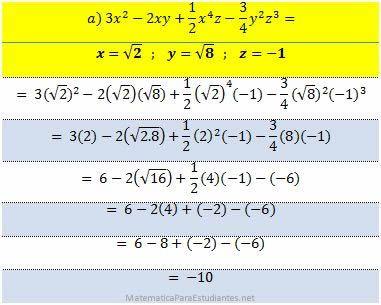 ejercicio 100 expresiones algebraicas 11 valor numerico