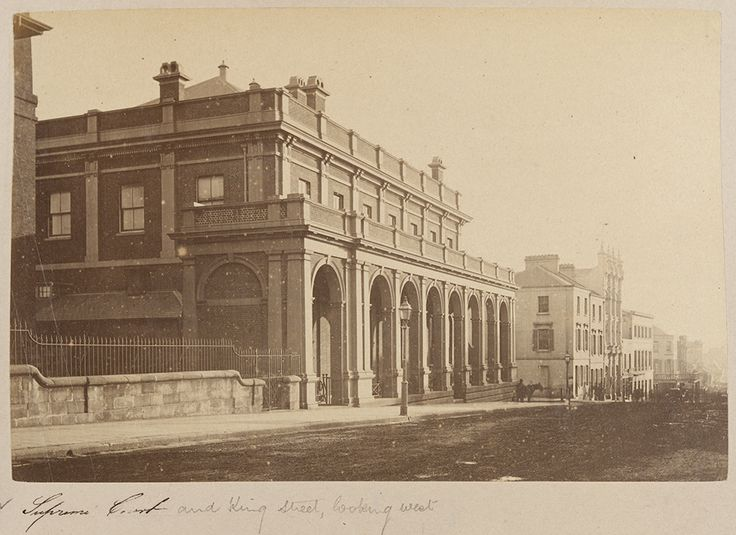 Supreme Court and King St,Sydney, looking west 1868-1881.Photo from State Library of NSW