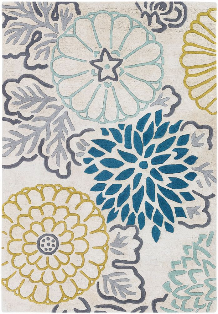 ThomasPaul Flourish Rug, Blue and Yellow