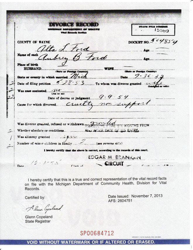 My Grandmother's divorce certificate (1954)