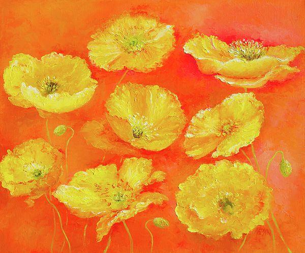 Yellow Poppies Painting  #poppyart #flowerpaintings  #yellowpoppies