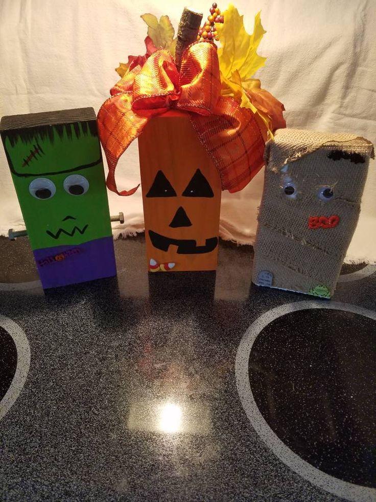 Pumpkin, Mummy and Frankenstein shelfsitters Halloween