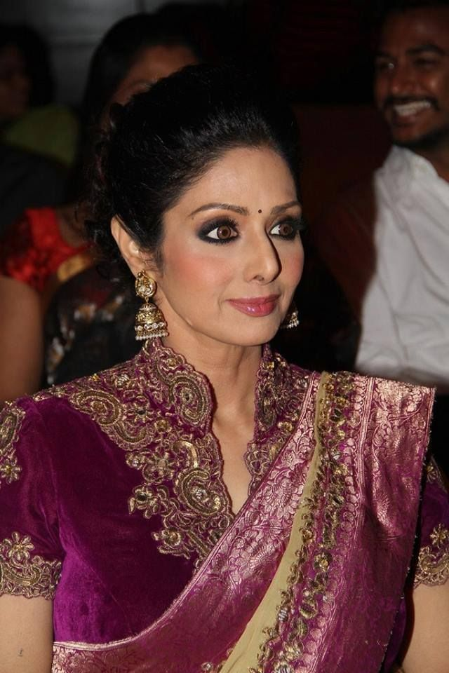 Sridevi in Magenta Velvet High Neck Blouse