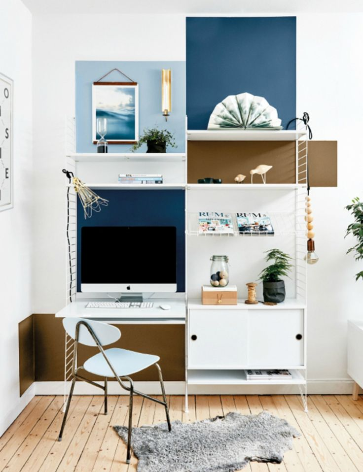 Home Office Idea | String Shelves & Color Blocked Walls