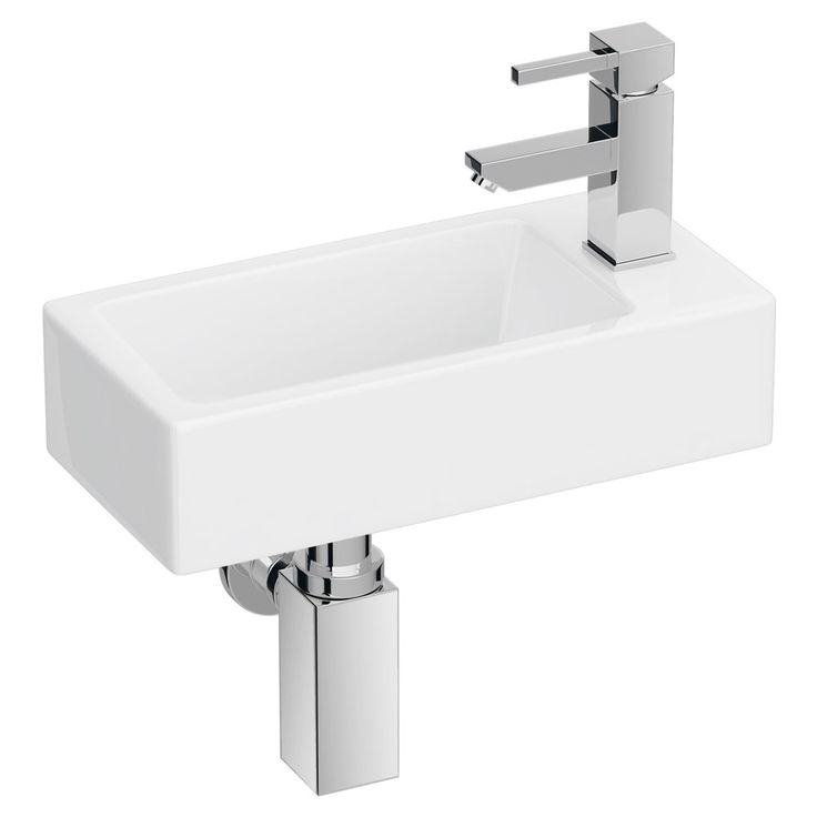 Rondo Wall Hung Small Cloakroom Basin 1TH - 365 x 185mm  Profile Large Image