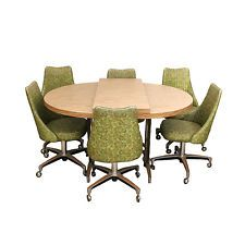 70s kitchen avocado green chromcraft vinyl chrome dining set 6 chairs table