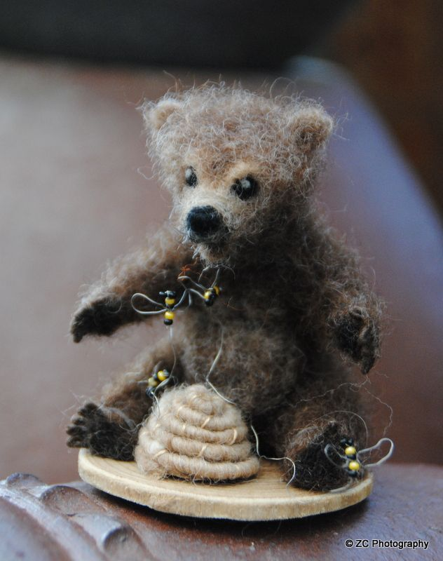 Felted bear with honeybees created by local artist. www.monchesfarm.com