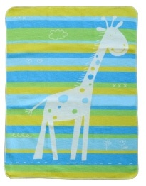 David Fussenegger Baby Blanket - Green Giraffe ( 70x90cm )  Spotty blanket for baby boys!  We love these funky, cute blankets from Austria - they are incredibly soft and just the perfect size for the pram, crib or simply to snuggle up with.  Made from 95% cotton and machine washable, the blanket measures 70 x 90 cm.  With a colourful green, blue & yellow striped background and a spotty design over.