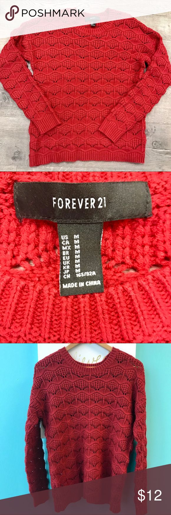 Forever 21 Red Knit Sweater Super soft, deep red Knit Sweater by Forever 21.  Price reflects some pilling to be expected in a cotton blend. Forever 21 Sweaters Crew & Scoop Necks