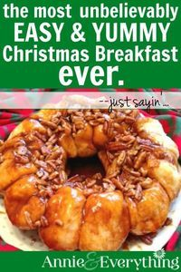 These easy make ahead overnight sticky buns are one of the best ideas for Christmas breakfast. Using Rhodes frozen rolls, dripping with a gooey pecan, cinnamon, and brown sugar topping -- this will become one of your favorite holiday recipes. While they bake, you can open gifts with the family -- then enjoy the decadence!
