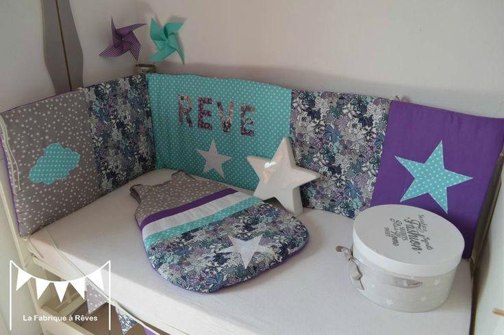 parure lit bébé tour lit 60 120 cms gigoteuse 0-6 mois étoiles nuage rêve turquoise gris violet liberty mauvey